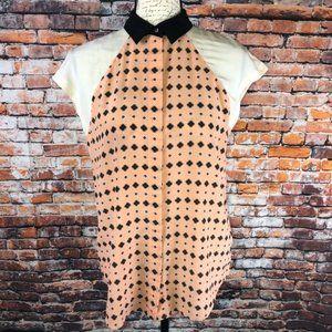 Club monaco silk geo print color block blouse Sm